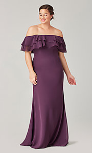 Image of long bridesmaid dress with double ruffled neckline. Style: KL-200198 Detail Image 6