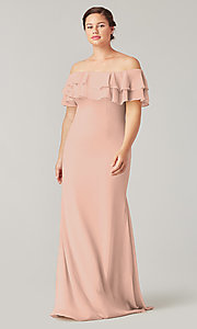 Image of long bridesmaid dress with double ruffled neckline. Style: KL-200198 Detail Image 1
