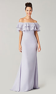 Image of long bridesmaid dress with double ruffled neckline. Style: KL-200198 Detail Image 8