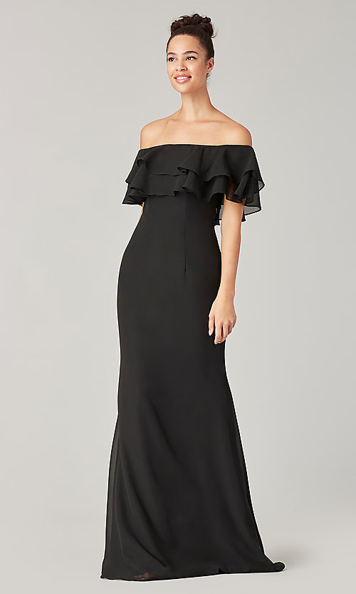 Image of long bridesmaid dress with double ruffled neckline. Style: KL-200198 Detail Image 4