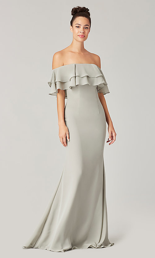 Image of long bridesmaid dress with double ruffled neckline. Style: KL-200198 Detail Image 5