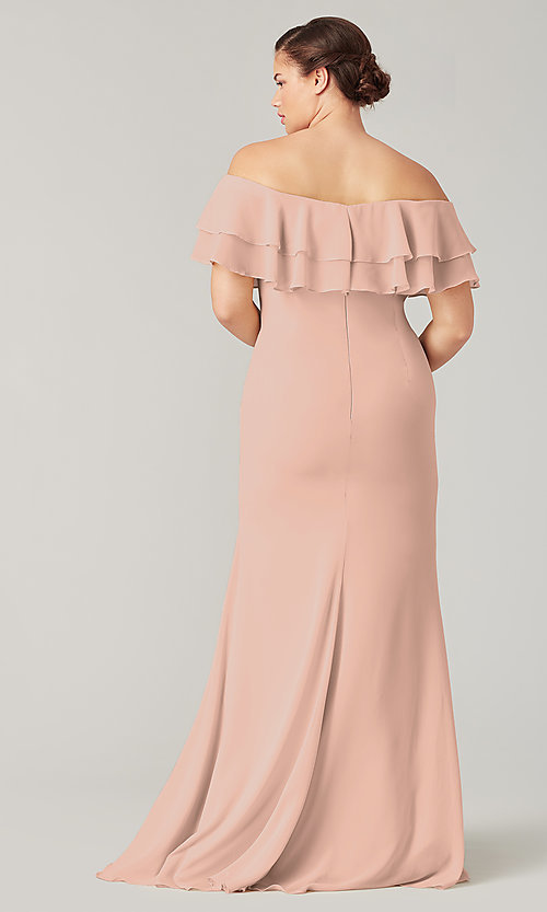 Image of long bridesmaid dress with double ruffled neckline. Style: KL-200198 Detail Image 2