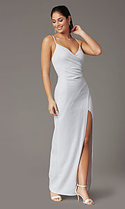 Image of silver glitter v-neck long prom dress. Style: EM-CWP-2589-040 Detail Image 2