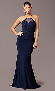 Image of illusion-bodice long navy prom dress by PromGirl. Style: TE-PL-9104 Front Image