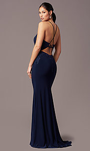 Image of illusion-bodice long navy prom dress by PromGirl. Style: TE-PL-9104 Back Image
