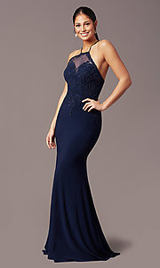 Image of illusion-bodice long navy prom dress by PromGirl. Style: TE-PL-9104 Detail Image 2