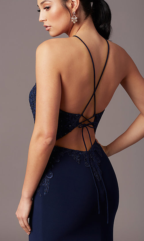 Image of illusion-bodice long navy prom dress by PromGirl. Style: TE-PL-9104 Detail Image 1
