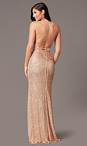 Image of rose gold sequin long prom dress by PromGirl. Style: TE-PL-9109 Back Image