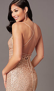Image of rose gold sequin long prom dress by PromGirl. Style: TE-PL-9109 Detail Image 1