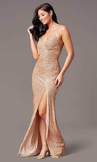 Rose Gold Sequin Long Prom Dress by PromGirl