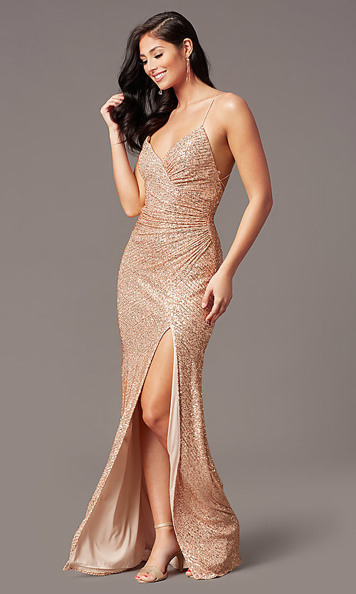 Image of rose gold sequin long prom dress by PromGirl. Style: TE-PL-9109 Front Image