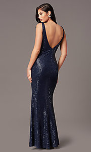 Image of tight long sequin v-neck prom dress by PromGirl.  Style: TE-PL-9111 Back Image