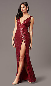 Image of tight long sequin v-neck prom dress by PromGirl.  Style: TE-PL-9111 Detail Image 2