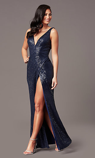 Tight Long Sequin V-Neck Prom Dress by PromGirl