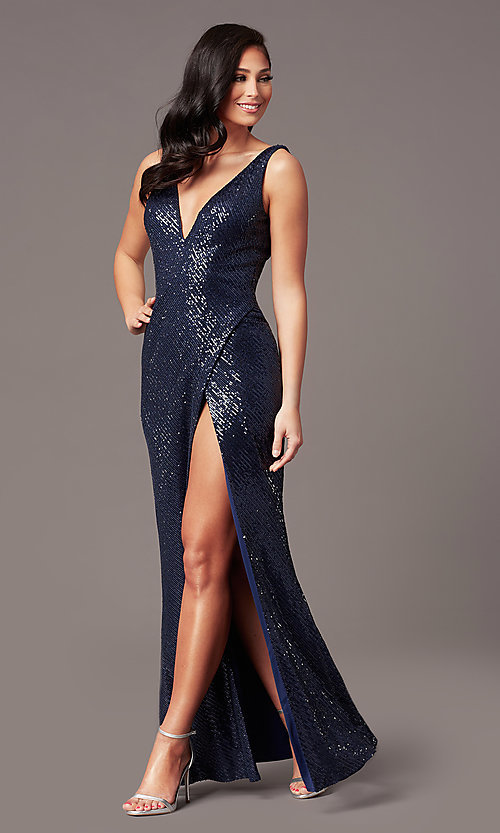 Image of tight long sequin v-neck prom dress by PromGirl.  Style: TE-PL-9111 Front Image