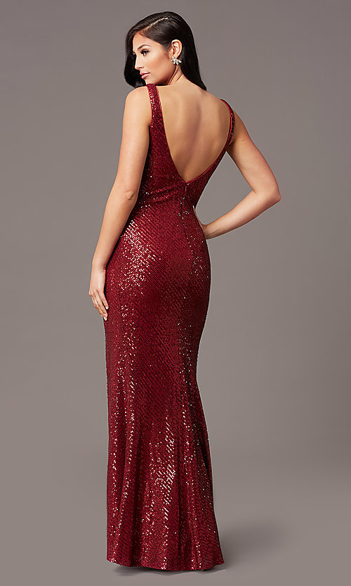Image of tight long sequin v-neck prom dress by PromGirl.  Style: TE-PL-9111 Detail Image 3