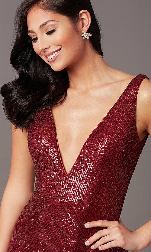 Image of tight long sequin v-neck prom dress by PromGirl.  Style: TE-PL-9111 Detail Image 4