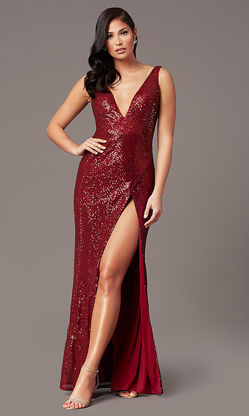 Image of tight long sequin v-neck prom dress by PromGirl.  Style: TE-PL-9111 Detail Image 5