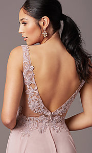 Image of long sleeveless v-neck prom dress by PromGirl.  Style: TE-PL-9127 Detail Image 5