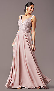 Image of long sleeveless v-neck prom dress by PromGirl.  Style: TE-PL-9127 Detail Image 6