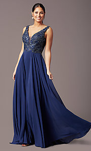 Image of long sleeveless v-neck prom dress by PromGirl.  Style: TE-PL-9127 Front Image