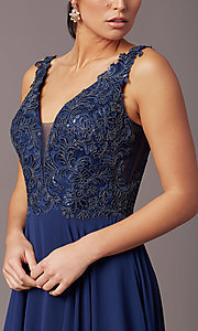 Image of long sleeveless v-neck prom dress by PromGirl.  Style: TE-PL-9127 Detail Image 1