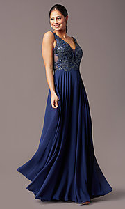 Image of long sleeveless v-neck prom dress by PromGirl.  Style: TE-PL-9127 Detail Image 2