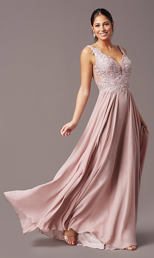 Image of long sleeveless v-neck prom dress by PromGirl.  Style: TE-PL-9127 Detail Image 3