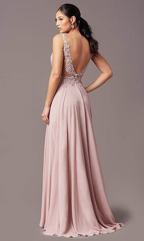 Image of long sleeveless v-neck prom dress by PromGirl.  Style: TE-PL-9127 Detail Image 4