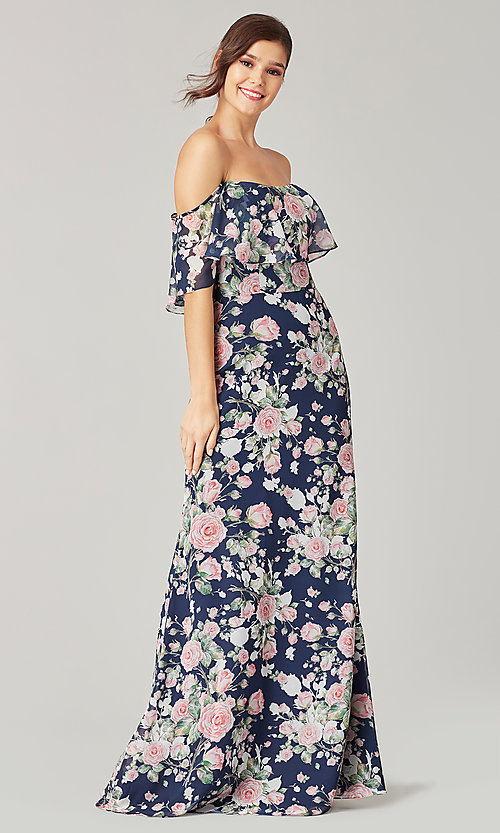 Image of flounce-top long floral-print bridesmaid dress. Style: KL-200222 Front Image