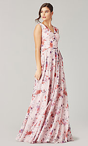 Image of print long bridesmaid dress with back buttons. Style: KL-200217 Front Image