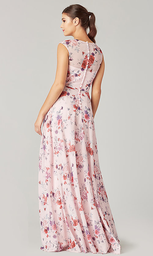 Image of print long bridesmaid dress with back buttons. Style: KL-200217 Back Image