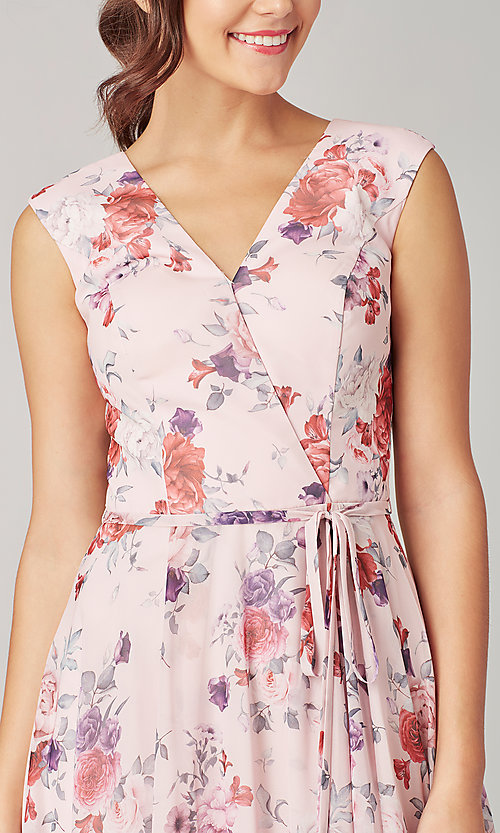 Image of print long bridesmaid dress with back buttons. Style: KL-200217 Detail Image 1