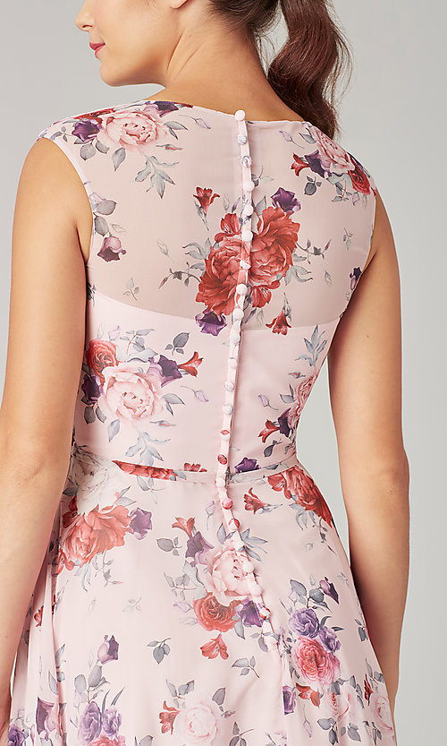 Image of print long bridesmaid dress with back buttons. Style: KL-200217 Detail Image 2
