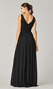 Image of pleated-bodice long formal dress for prom. Style: KL-200200 Detail Image 4