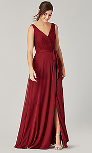 Image of pleated-bodice long formal dress for prom. Style: KL-200200 Detail Image 1