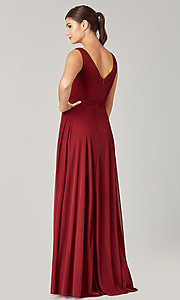 Image of pleated-bodice long formal dress for prom. Style: KL-200200 Detail Image 2