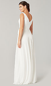 Image of pleated-bodice long formal dress for prom. Style: KL-200200 Detail Image 8