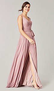 Image of pleated-bodice long formal dress for prom. Style: KL-200200 Detail Image 6