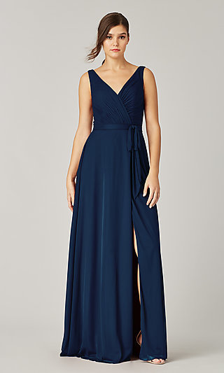Pleated-Bodice Long Formal Dress for Prom