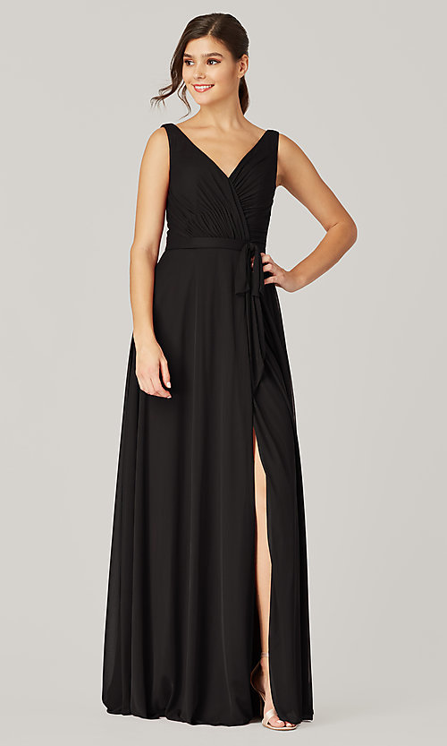 Image of pleated-bodice long formal dress for prom. Style: KL-200200 Detail Image 3