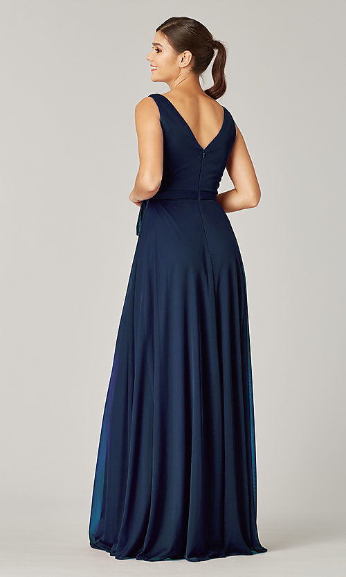 Image of pleated-bodice long formal dress for prom. Style: KL-200200 Back Image