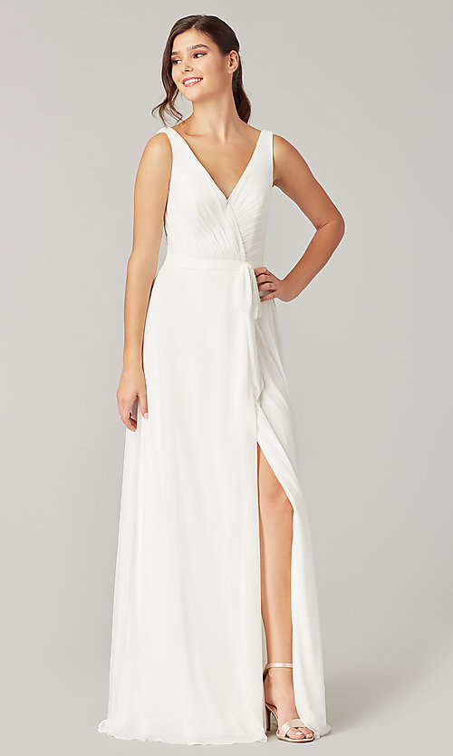 Image of pleated-bodice long formal dress for prom. Style: KL-200200 Detail Image 7