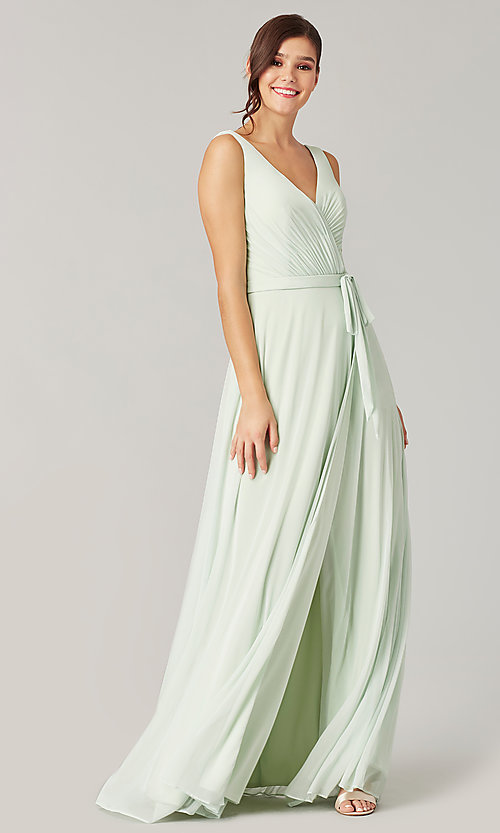 Image of pleated-bodice long formal dress for prom. Style: KL-200200 Detail Image 5