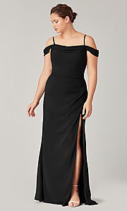 Image of cold-shoulder long chiffon formal dress for prom. Style: KL-200194 Front Image