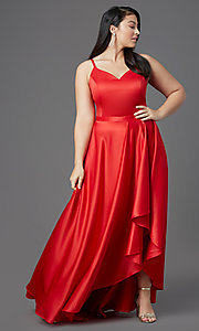 Image of red plus-size high-low prom dress by PromGirl. Style: SC-PL-PG-2001 Front Image