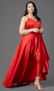 Image of red plus-size high-low prom dress by PromGirl. Style: SC-PL-PG-2001 Detail Image 2