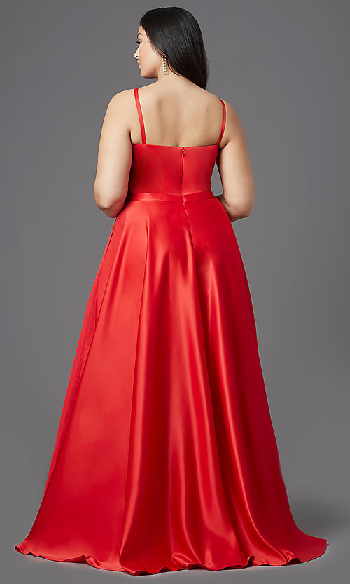 Image of red plus-size high-low prom dress by PromGirl. Style: SC-PL-PG-2001 Back Image