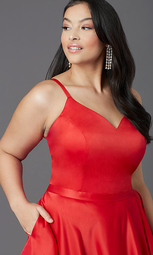 Image of red plus-size high-low prom dress by PromGirl. Style: SC-PL-PG-2001 Detail Image 1