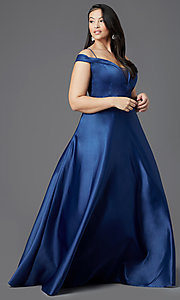 Image of long navy blue plus-size prom dress by PromGirl. Style: SC-PL-PG-2002 Front Image